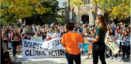 Cornell students in front of Willard Straight Hall participate in a worldwide Climate Strike on Sept. 20. Photo by Jason Koski